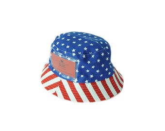 Red White And Blue Bucket Hat with Pockets
