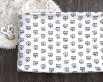 Koala bear changing pad cover. Fitted gray koala taupe white. Gender neutral (#0085)