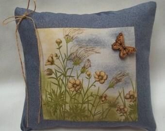 Flower Field Mini Pillow, Spring Summer Shelf Pillow. Outdoor, Butterfly