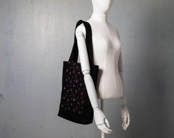 Tote Bag, Cotton Bag, Comfortable Textile Shopping Bag, Shopper Eco Bag, Laptop Bag, Floral Print Tote Bag