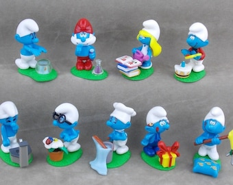 SMURFS Cake Topper  9 Figure Set Birthday Party Cupcakes Figurines Kinder Surprise