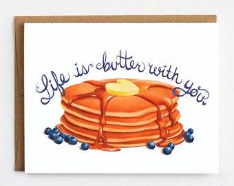 Valentines Day Card, Pun Valentine, Breakfast Love, Pancakes