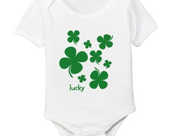 Lucky Four Leaf Clover Shamrock Organic Cotton Baby Bodysuit