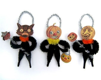 Ornements d'Halloween Chenille - Primitive Decor Halloween