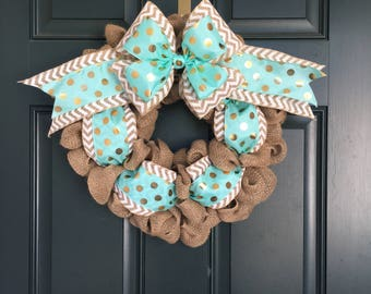 Beautiful burlap wreath witha chevron and turquoise and gold ribbon. Looks wonderful with initial /monogram!