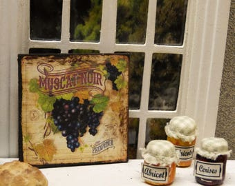 "Wall plate Miniature ""MUSCAT black"" 1/12 scale - Dollhouse Miniature kitchen decor accent"