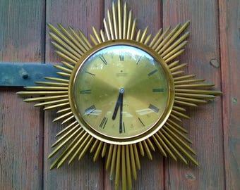 Sun year 70 vintage mid century clock brass clock