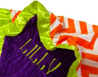 Halloween Blanket Orange and White Chevron With Purple Minky Back and Lime Green Satin Ruffle