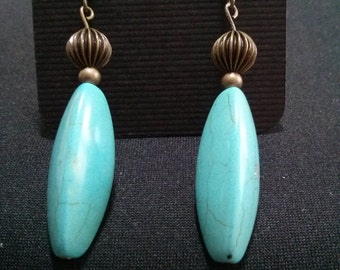 Turquoise & Bead Earrings