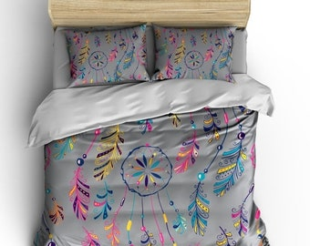 Memorial On Sale Dreams Catcher Custom Bedding, Cool Grey Color, Available All bed sizes