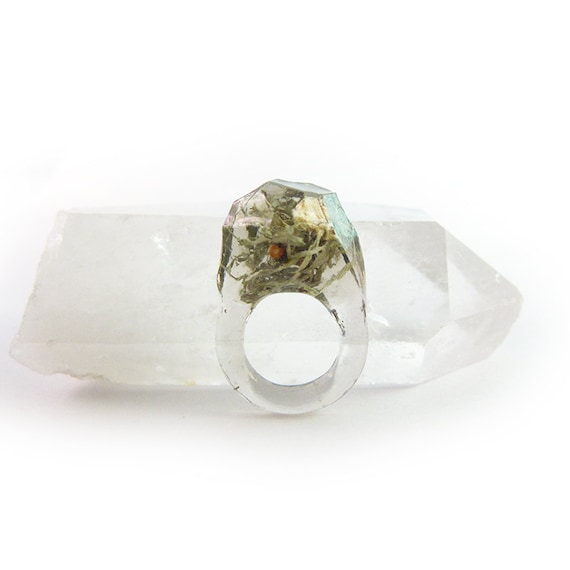 Asymmetrical Faceted Terrarium Ring • Size 4.5