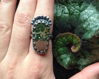 Ocean Jasper Goddess Ring / Size 8.5 Ring / Sterling Silver Ocean Jasper Ring/ Ocean Jasper Statement Ring