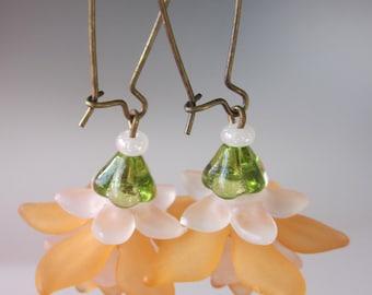 """Flower Earrings, Flower Jewelry, Orange Wedding, Bohemian Earrings, Large 1"""" Kidney Ear Wire, Lucite Flower Earrings"""