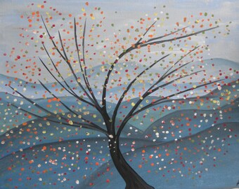 Abstract WALL ART PAINTING Modern Art Canvas Art Floral Tree Painting Blossom Art