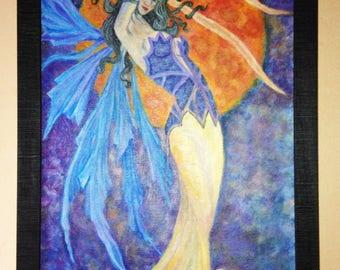 Fairy of night, framed acrylic painting