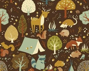 Birch Fabrics CRITTER CAMP Brown, Woodland Animals - ORGANIC Cotton Quilt Fabric - by the Quarter Yard