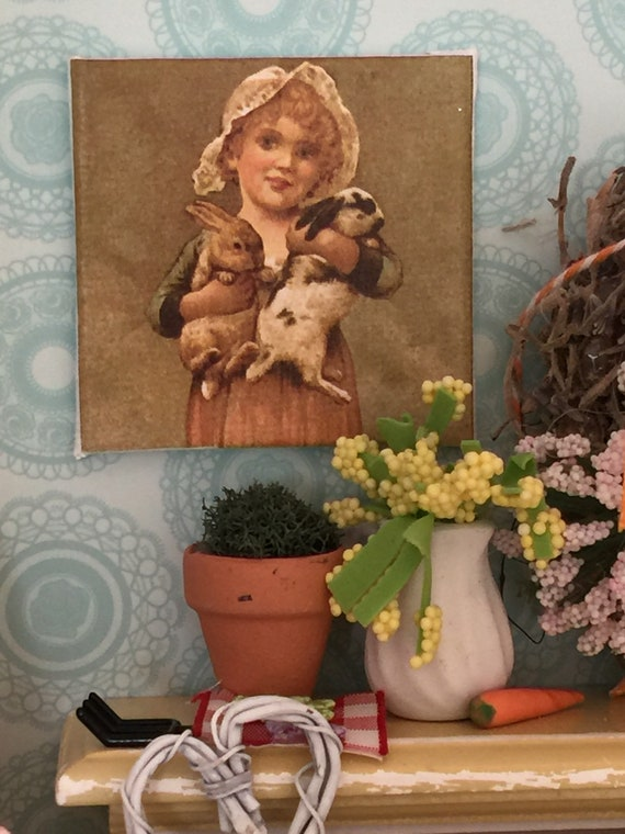 """Vintage Girl and Bunnies Spring Canvas Art 2"""" x 2"""""""