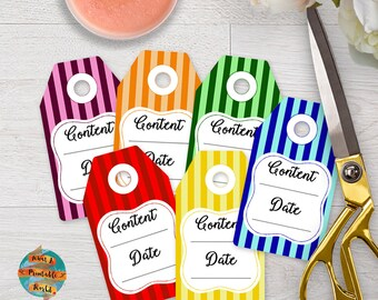 Jar Tags for homemade food, colored stripes, printable, digital file