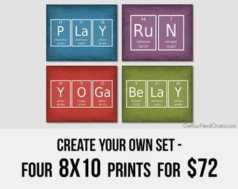Create Your Own Set, Set of 4 Prints, Nerdy 8x10 Posters, Classroom Decor