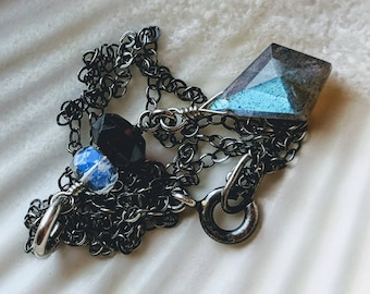 Oxidized sterling silver blue flash labradorite with garnet and moonstone necklace - wire wrapped handmade jewelry
