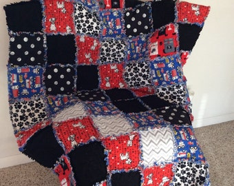 Baby / Toddler Boy Rag Quilt - crib size - very cute