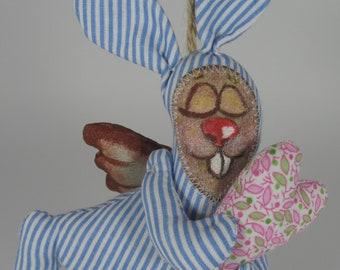 Easter bunny, sleepy bunny, primitive toy, coffee toy,angel, funny-bunny