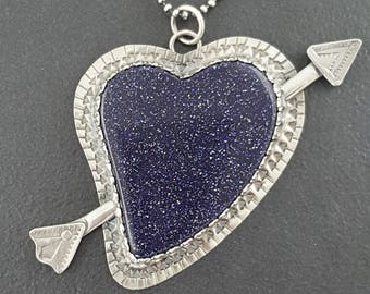 Blue Goldstone Heart Necklace, sterling silver, heart necklace, heart jewelry, valentines day heart, love necklace, heart pendant, red heart