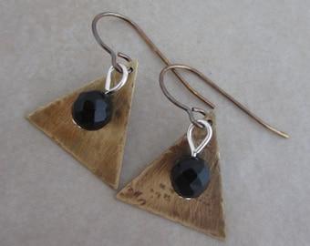 strength black onyx earrings oxidized brass sterling silver dangle