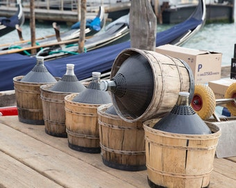Venice, Italy, Jugs of Wine in Baskets, Wine Delivery in Venice