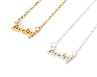 Lucky necklace / Sterling Silver / Gold filled / Good Luck Necklace / Lucky Word Necklace / Bridal shower gift / Lucky Word Necklace