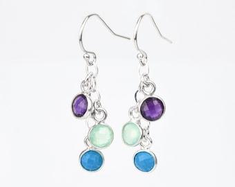 Mothers day gift, Custom Birthstone earrings, dangle long earrings, drop earrings, birthday gifts for mom, grandmother gift, mother earrings
