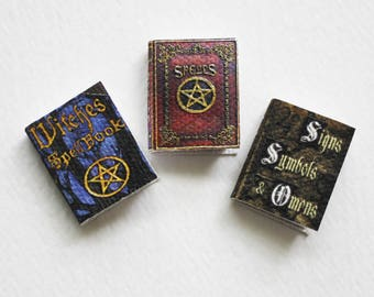 Miniature Witchcraft Book Three Piece Set of Witch Spells Symbols and Omens in Dollhouse One Twelfth Scale