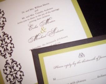 Brown /Chartreuse handmade wedding invitation