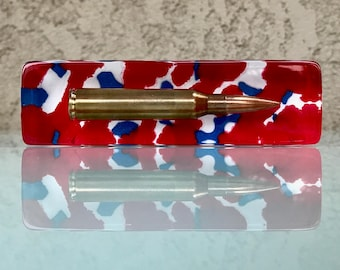 Handmade .338 Lapua Magnum Bullet Paperweight - Patriotic Red, White And Blue - A Must Have For Any Gun Enthusiast