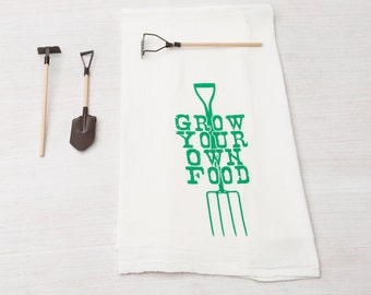 Tea Towel - Screen Printed Flour Sack Towel - Absorbent Dish Towel - Kitchen Towel - Gardening - Flour Sack Towel - Mother's Day Gift