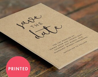 Kraft Rustic Save the Date Cards A6 (105 X 148mm) Printed