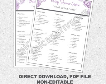 Baby Shower Game, What's in Your Purse Pocketbook, Printable Girl purple, Lavender and Charcoal Grey Gray Floral, Digital File