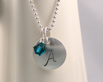 Hand Stamped Silver Initial Pendant Necklace Swarovski Crystal Personalized Jewelry, Birthstone Jewelry, Bridesmaid Gifts