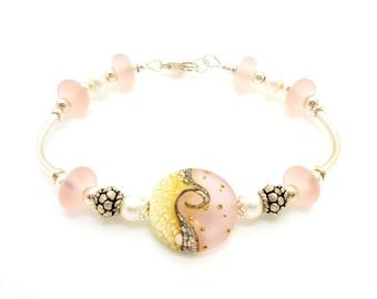 Pink Ivory Bracelet, Lampwork Bracelet, Beach Wave Bracelet, Beach Jewelry, Simple Jewelry, Simple Bracelet