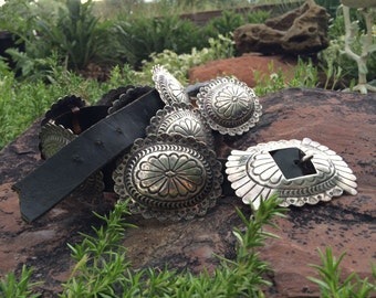 "1970s hand stamped 39"" silver concho belt Santa Fe Style Southwestern fashion"