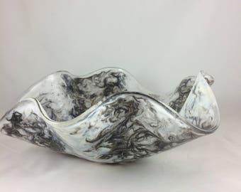 Black, white, and grey watercolors wavy bowl