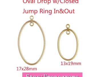 14K Yellow Gold Filled Tubing Oval Drop with Closed Jump Ring Inside & Outside of Drop 13x19mm / 17x28mm Wholesale Finddings 1/20 14kt GF