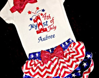 Baby Girl 4th of July Outfit, Baby Girl Fourth of July Outfit, Baby Girl 1st 4th Outfit, Girl First Fourth of July Outfit