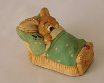 "Pendelfin Stoneware Rabbit ""Wakey"" In Green ~ Free UK Postage"