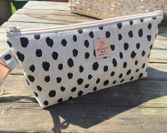 Dalmatian Linen Wristlet with Leather Cuff