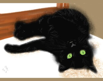 Cat Greeting Card, Blank, Clover's Window Seat Design No A6049