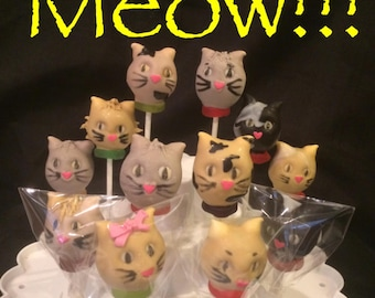 12 Kitty Cat cake pops, cat lovers, vet office gifts.