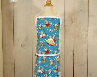 Rocket Rascals Toddler Apron - Reversible apron, full apron, apron with pockets