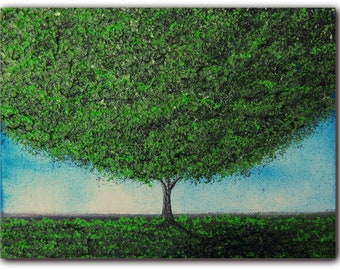 Original Contemporary Landscape Painting, Tree Art Canvas Painting, Green Tree Oil Painting, 6 x 8, Abundance
