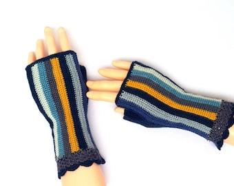 Blue Gray Yellow Fingerless Gloves Multicolor Crochet Fingerless Gloves Hand Warmers Wrist Warmers Arm Warmers Texting Gloves Driving Gloves